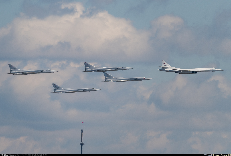 Tupolev Tu-160M acompanhado de vários Tu-22