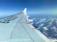 Крыло ТУ-204-го в полете,рейс Норильск-Внуково.