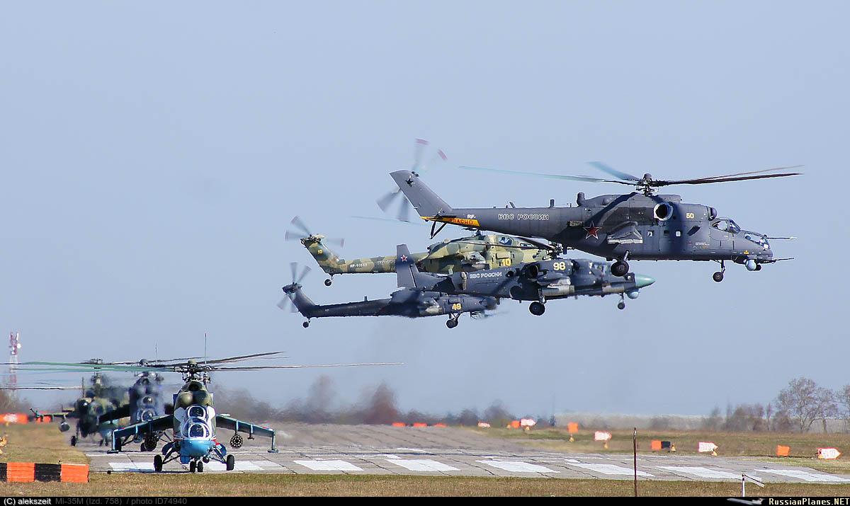 бойни вертолети Ми-24, Ми-35М, Ми-28Н и Ка-52